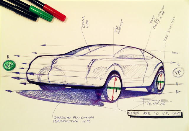 Drawing wheels in perspective. Car sketching tips. – www.lucianobove.com