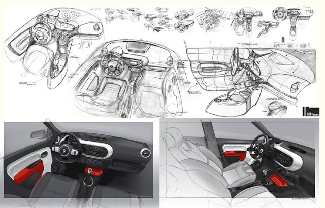 renault twingo 3 interior sketches by designer laurent negroni. Black Bedroom Furniture Sets. Home Design Ideas