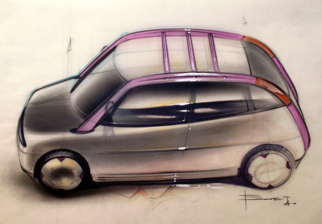 How to color a car sketch using Chalk and Pastels – www.lucianobove.com